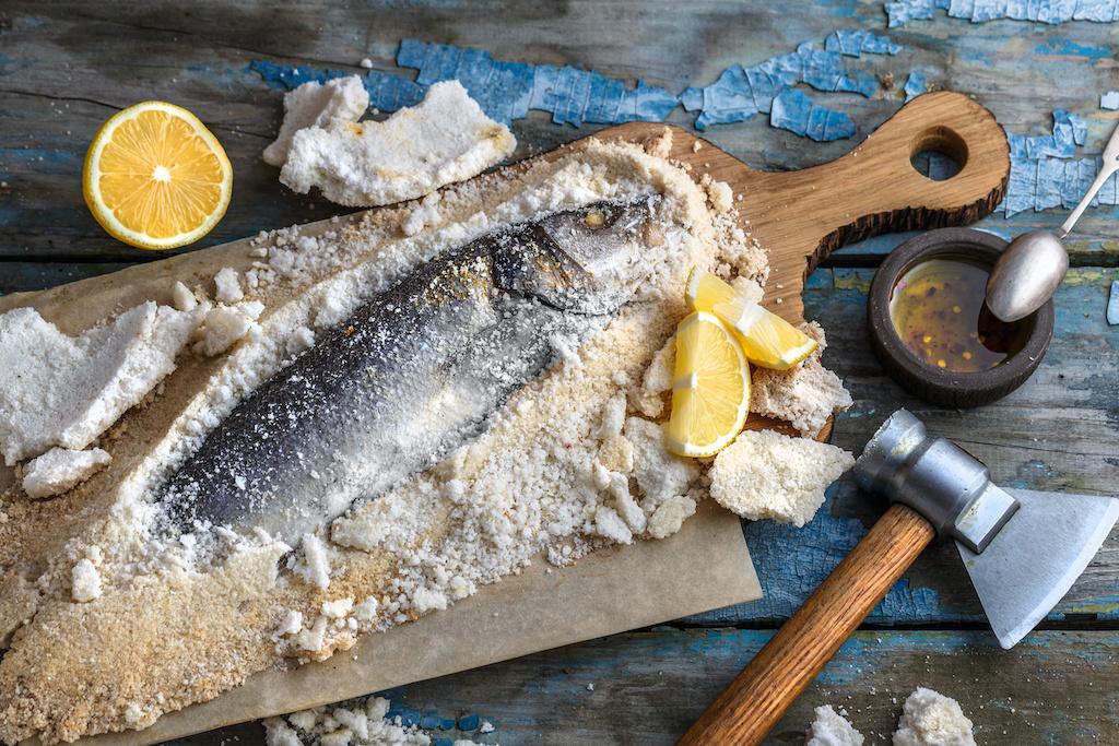 Salt baked fish