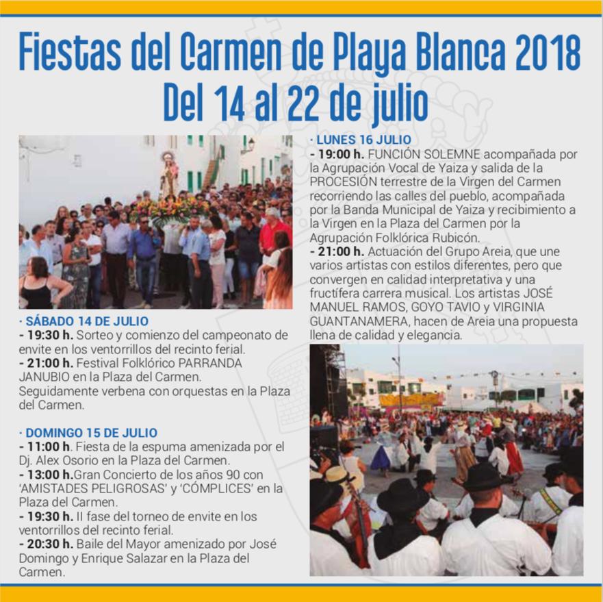 Fiestas del Carmen - Playa Blanca - Lanzarote Information fad8c2272be